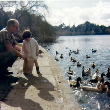 Catherine & Dad feeding ducks, Wanganui