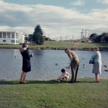 Catherine, Mum & Dad and Marion Scott, Palmerston North 1967