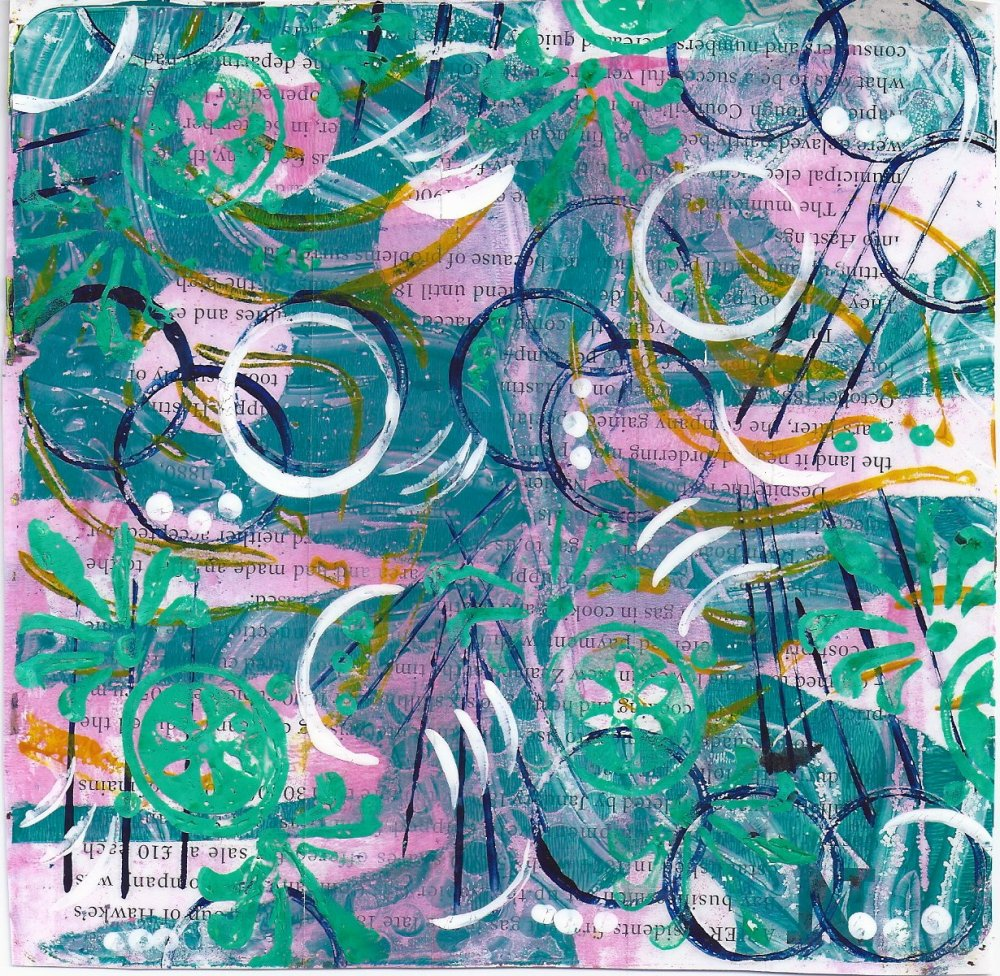 Gelli prints on clear adhesive tape (2/3)