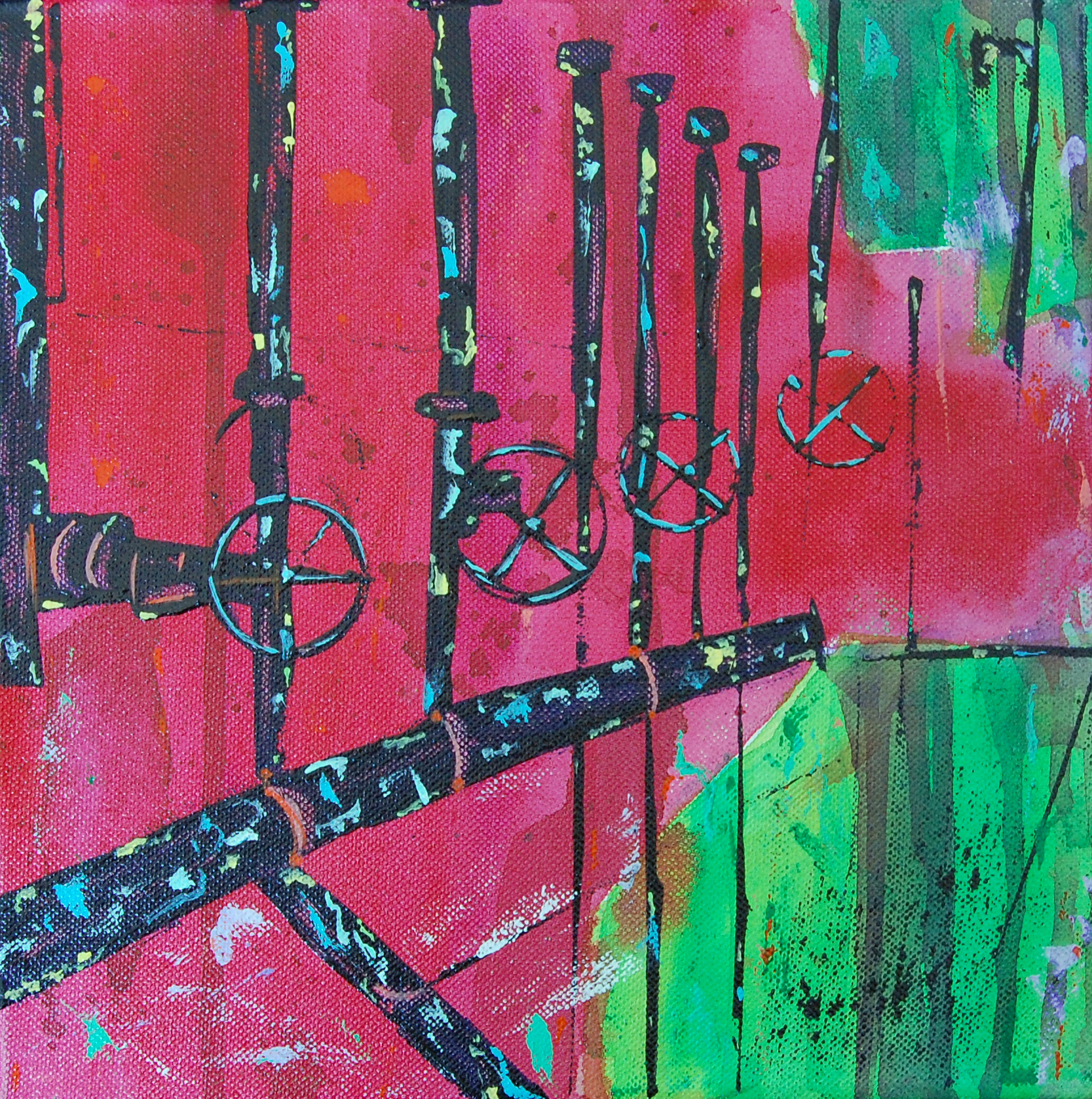 """Freeze dried. 10x10"""". This was done from a photo of some metalwork on the wall; the colours were amazing."""